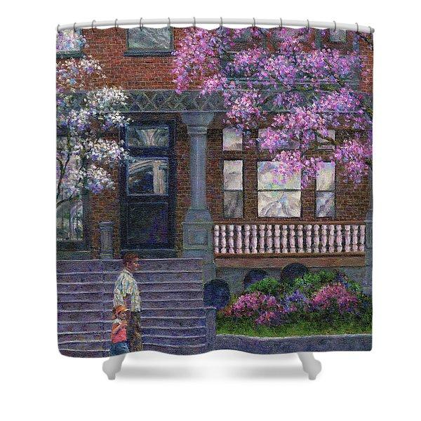 Philadelphia Street In Spring Shower Curtain