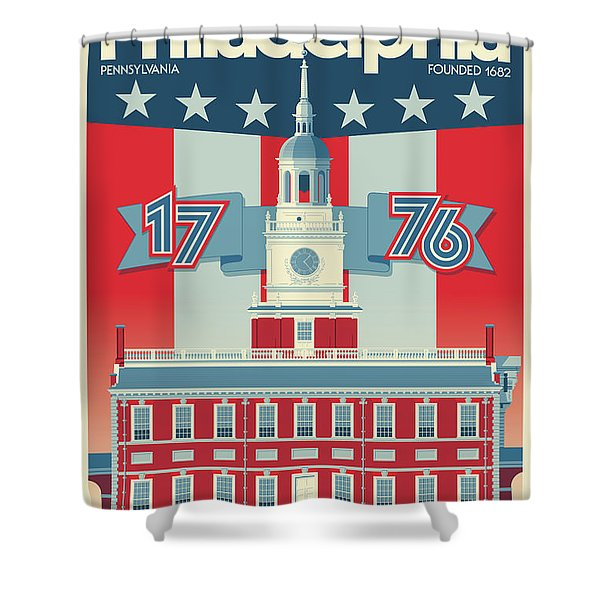 Philadelphia Poster - Independence Hall Shower Curtain