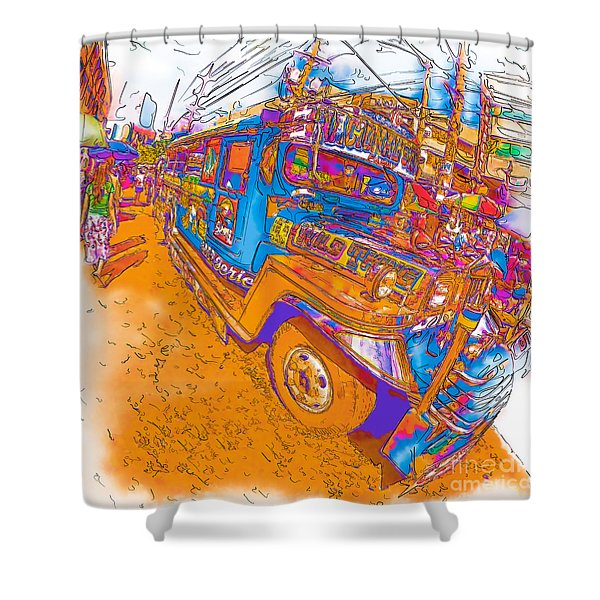 Philippine Girl Walking By A Jeepney Shower Curtain