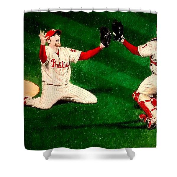 Phillies Win The World Series Shower Curtain