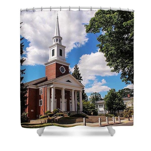 Shower Curtain featuring the photograph Phillips Stevens Chapel, Williston Northampton School, Easthampton, Ma by Sven Kielhorn