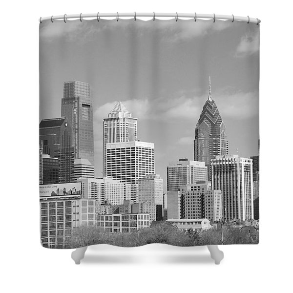Philly Skyscrapers Black And White Shower Curtain