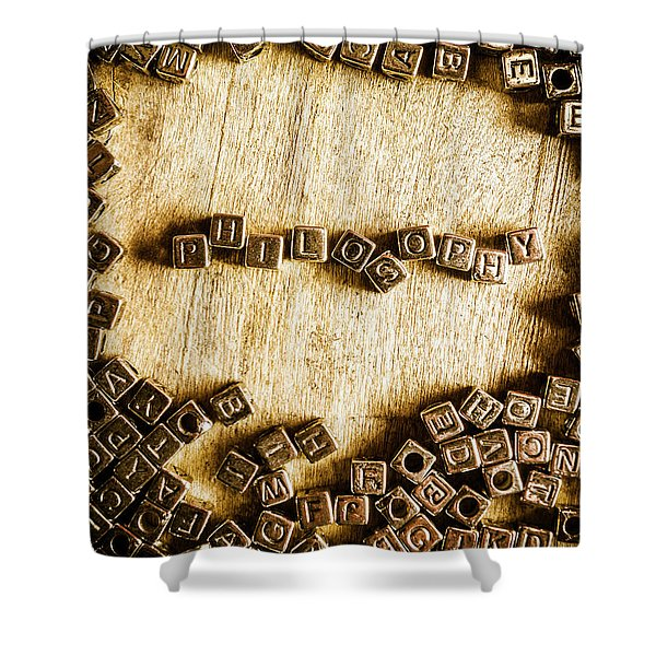 Philosophy In Metal Cubes Shower Curtain