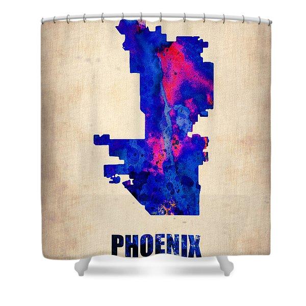 Phoenix Watercolor Map Shower Curtain