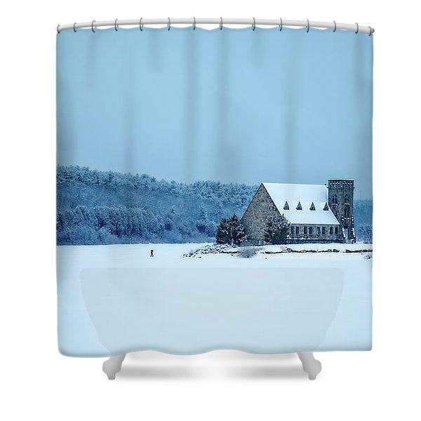 Photographer On Thin Ice Shower Curtain