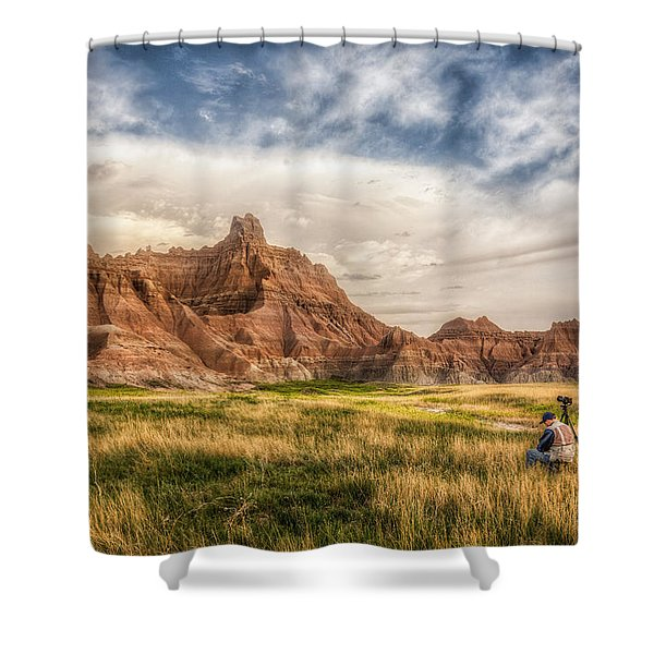 Photographer Waiting For The Badlands Light Shower Curtain