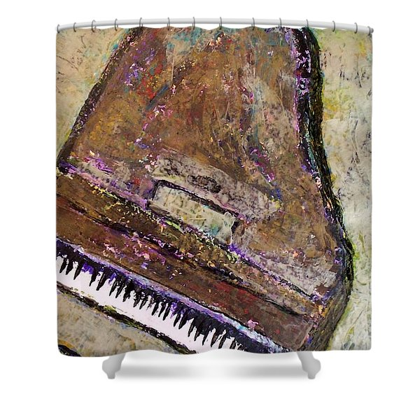 Shower Curtain featuring the painting Piano In Bronze by Anita Burgermeister