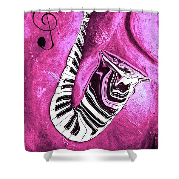 Piano Keys In A Saxophone Hot Pink - Music In Motion Shower Curtain