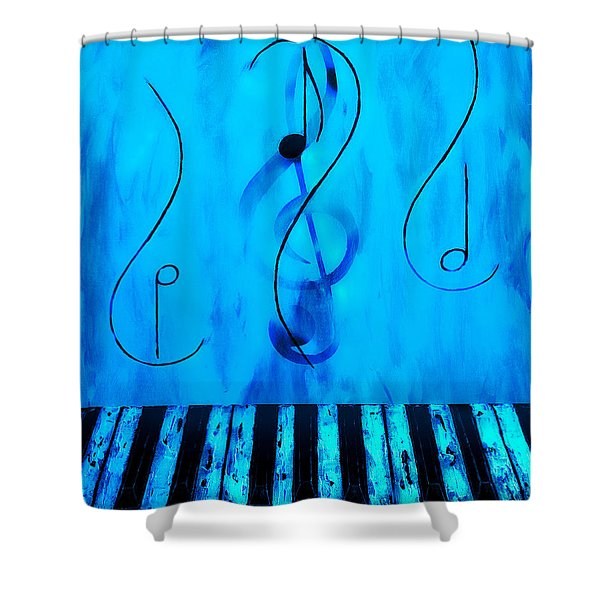 Piano Play Blue Shower Curtain