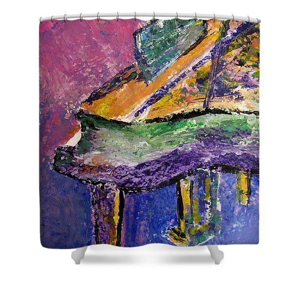 Shower Curtain featuring the painting Piano Purple - Cropped by Anita Burgermeister