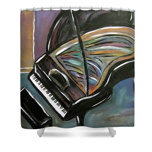 Shower Curtain featuring the painting Piano With High Heel by Anita Burgermeister