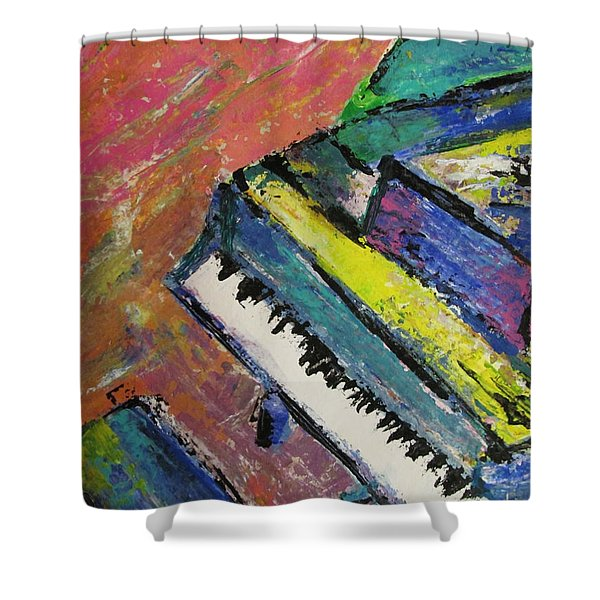 Shower Curtain featuring the painting Piano With Yellow by Anita Burgermeister