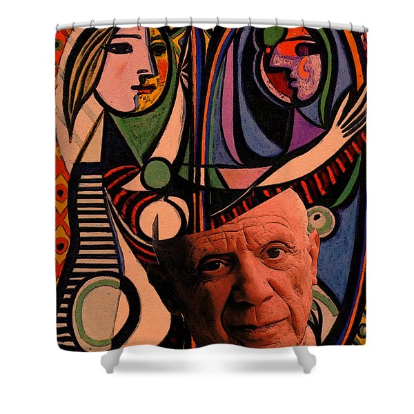 Shower Curtain featuring the digital art Picaso Study In Orange by Tristan Armstrong