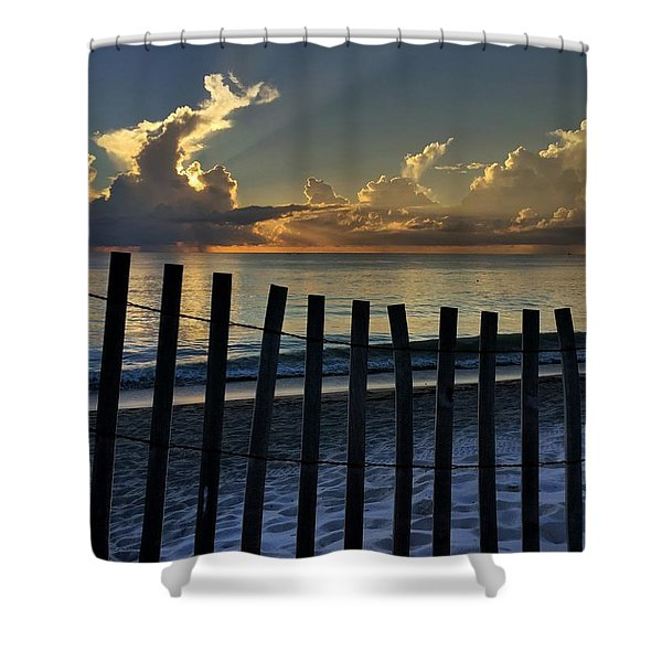 Picket Fence On The Beach Shower Curtain