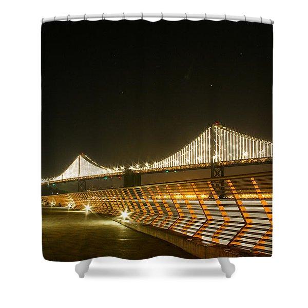 Pier 14 And Bay Bridge Lights Shower Curtain