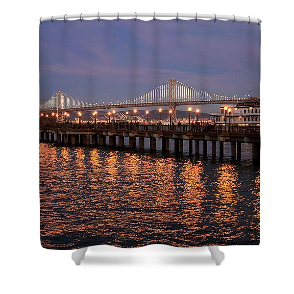 Pier 7 And Bay Bridge Lights At Sunset Shower Curtain