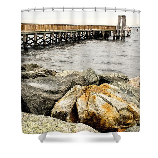 Pier And Rocks At Colt State Park Shower Curtain