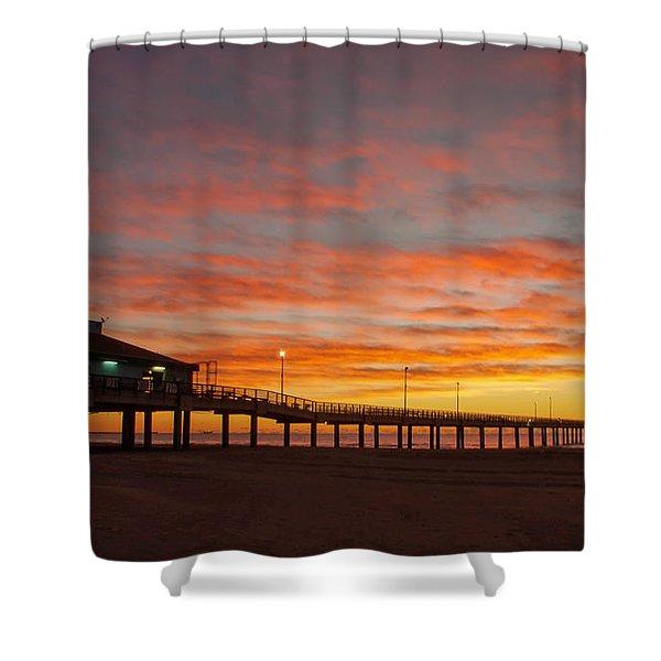 Pier At Sunrise Port Aransas Tx Shower Curtain