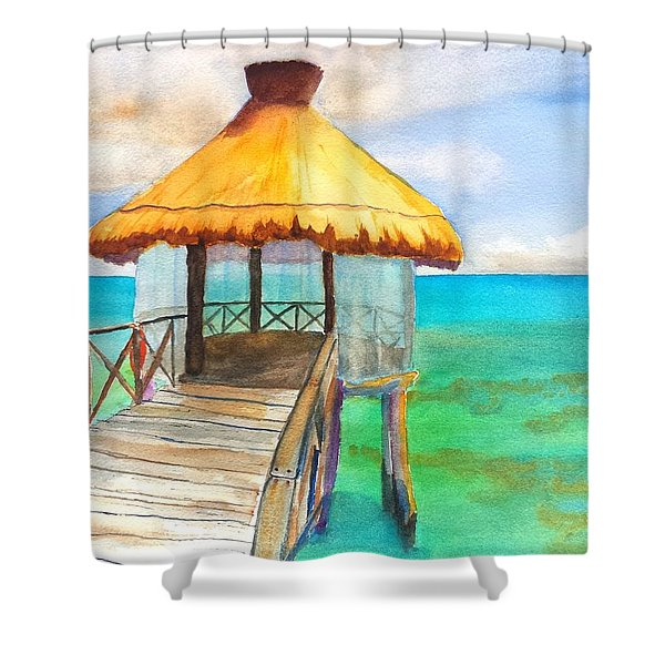 Pier Gazebo At Mayan Palace Shower Curtain