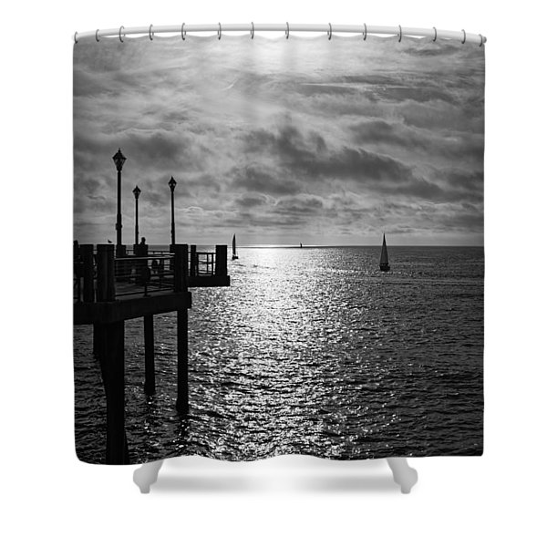 Pier Into The Sun Shower Curtain