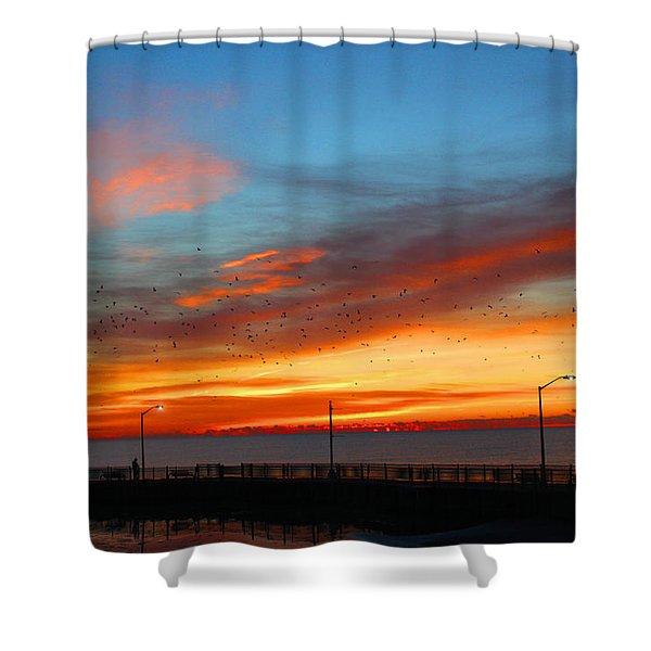 Pier Sunrise Shower Curtain