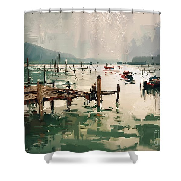 Shower Curtain featuring the painting Pier by Tithi Luadthong
