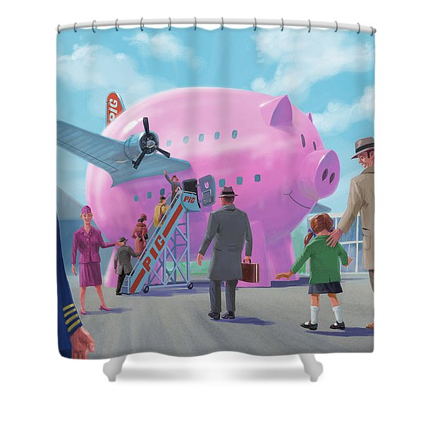 Pig Airline Airport Shower Curtain