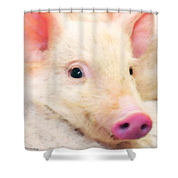 Pig Art - Pretty In Pink Shower Curtain