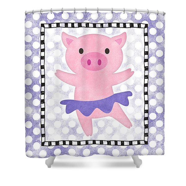 Pig Dancing - Purple Dotty Shower Curtain
