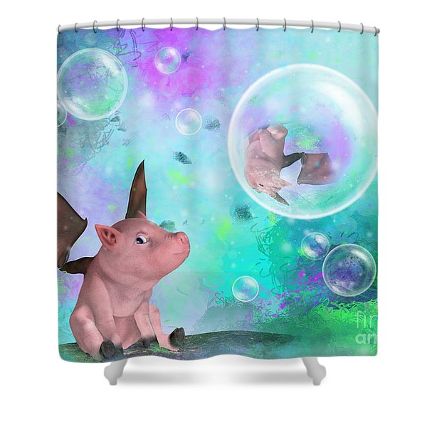 Pig In A Bubble Shower Curtain
