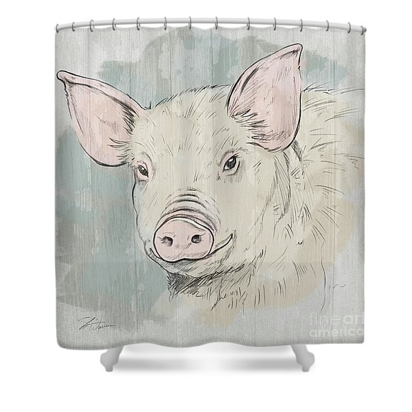 Pig Portrait-farm Animals Shower Curtain