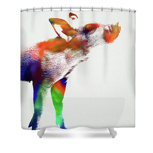 Piglet Wild Animals Of The World Watercolor Series On White Canvas 007 Shower Curtain