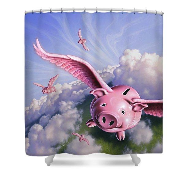 Pigs Away Shower Curtain