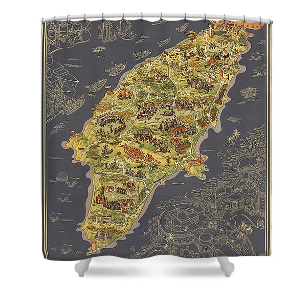 Piictorial Map Of The Island Of Rhodes - Rose Island - Island Of The Sun - Antique Map Shower Curtain