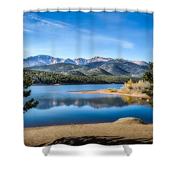 Pikes Peak Over Crystal Lake Shower Curtain