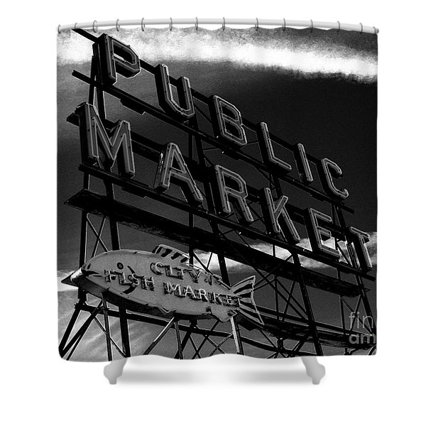 Pikes Place Market Sign Shower Curtain