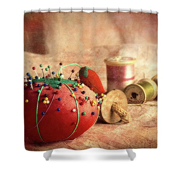 Pin Cushion And Wooden Thread Spools Shower Curtain