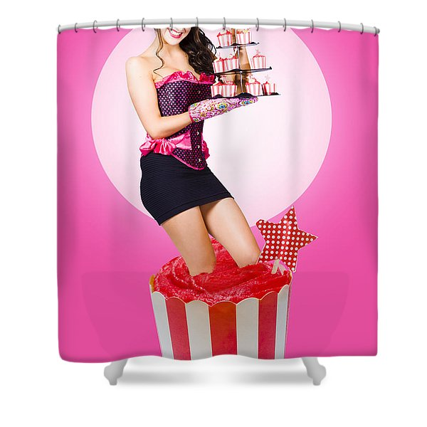 Pin-up Girl Popping Out Of Large Birthday Cake Shower Curtain