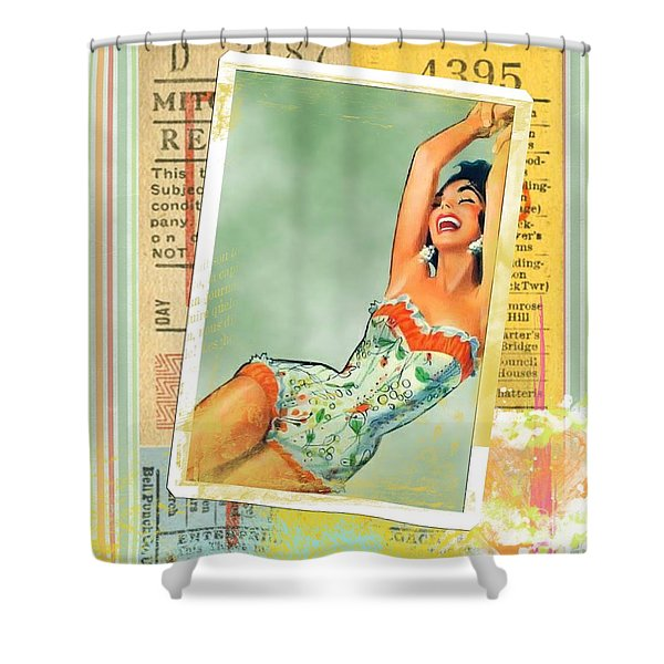 Pin Up Girl Square Shower Curtain