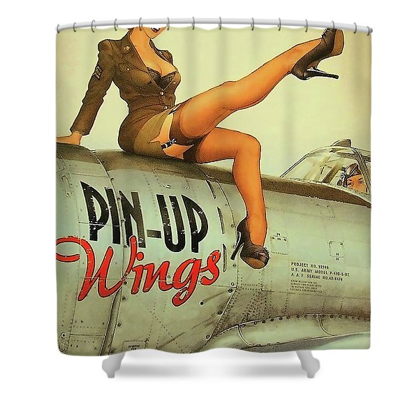 Pin Up Sexy Brunette Girl In Uniform Sitting On Airplane Shower Curtain