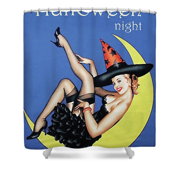 Pin Up Witch On Moon Shower Curtain