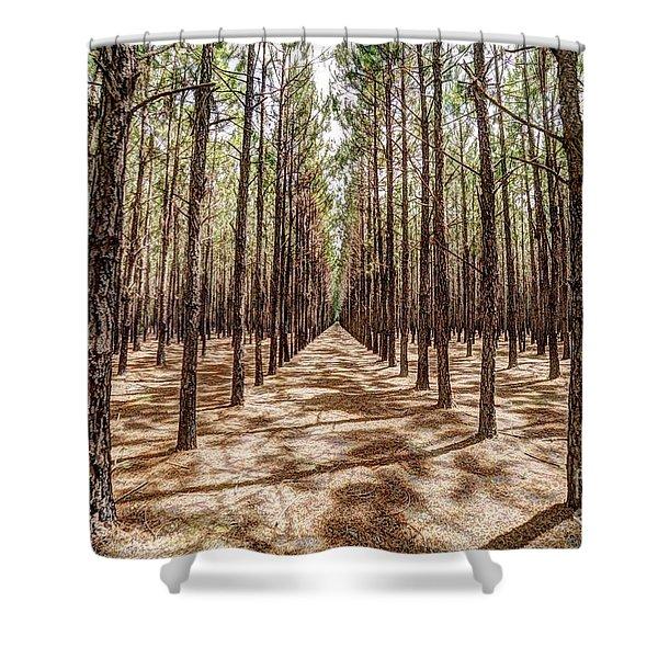 Pine Plantation Wide Color Shower Curtain
