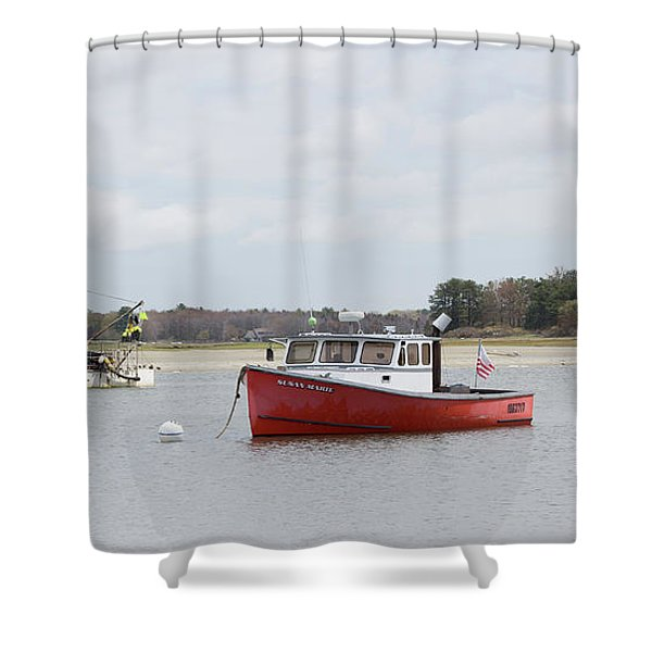 Pine Point Boats Shower Curtain