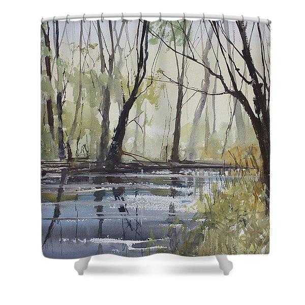 Pine River Reflections Shower Curtain by Ryan Radke