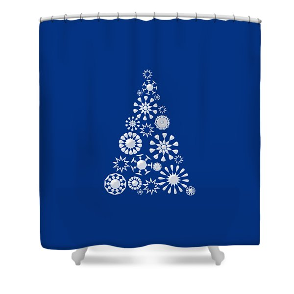 Pine Tree Snowflakes - Dark Blue Shower Curtain