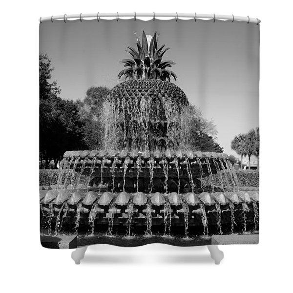 Pineapple Fountain Charleston Sc Black And White Shower Curtain