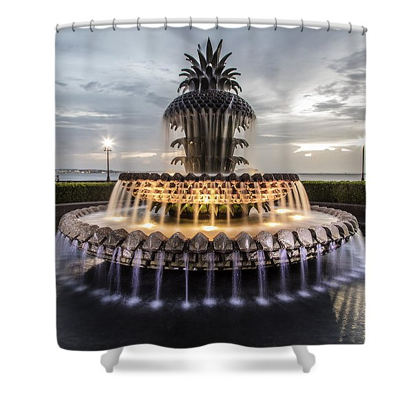 Pineapple Fountain Charleston Sc Shower Curtain