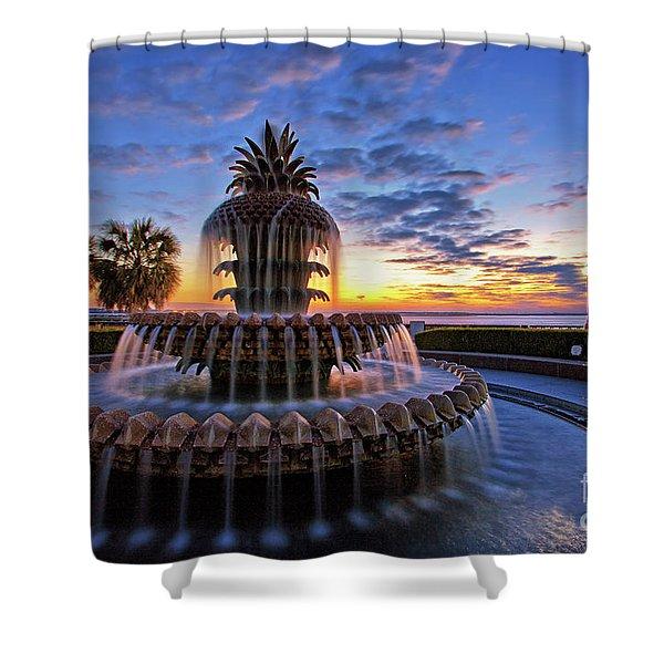 The Pineapple Fountain At Sunrise In Charleston, South Carolina, Usa Shower Curtain