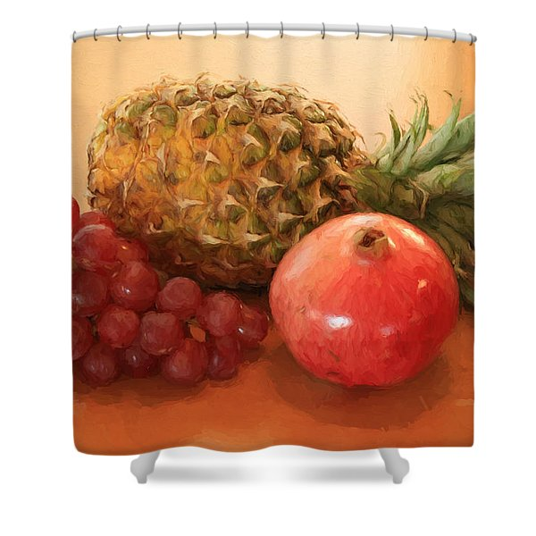 Pineapple Pomegranate Grapes Shower Curtain