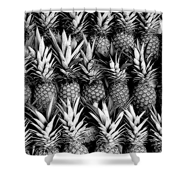 Pineapples In B/w Shower Curtain